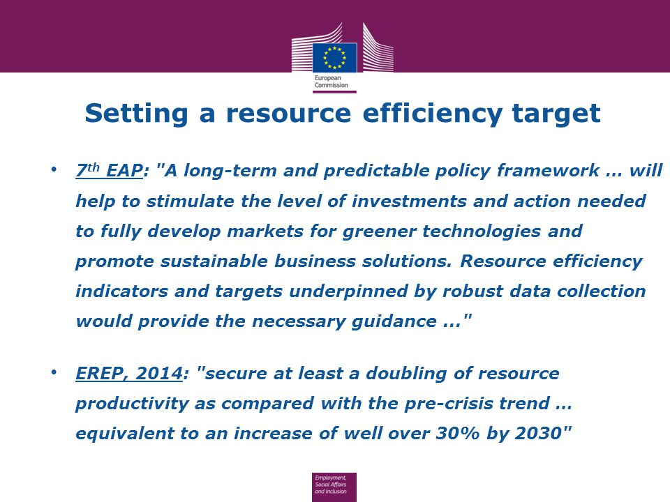 Setting a resource efficiency target