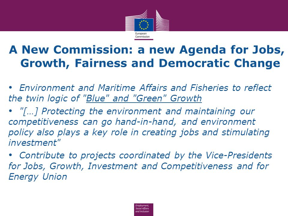 A New Commission: a new Agenda for Jobs, Growth, Fairness and Democratic Change