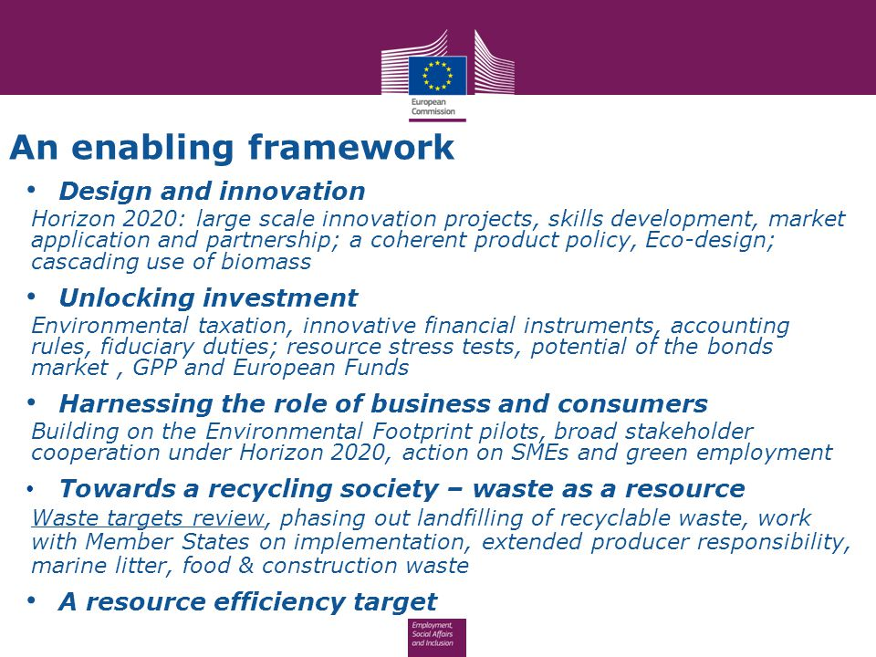 An enabling framework Design and innovation Unlocking investment