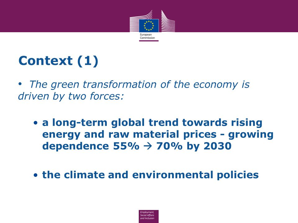 Context (1) The green transformation of the economy is driven by two forces: