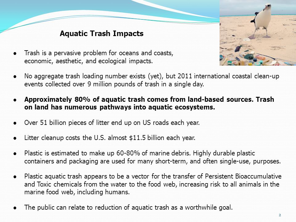 Aquatic Trash Impacts Trash is a pervasive problem for oceans and coasts, causing economic, aesthetic, and ecological impacts.