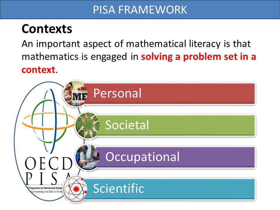 Contexts Personal Societal Occupational Scientific PISA FRAMEWORK