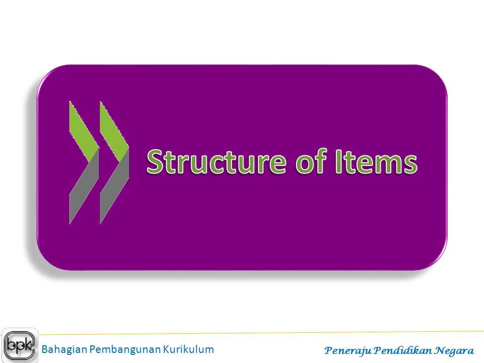 Structure of Items Bahagian Pembangunan Kurikulum