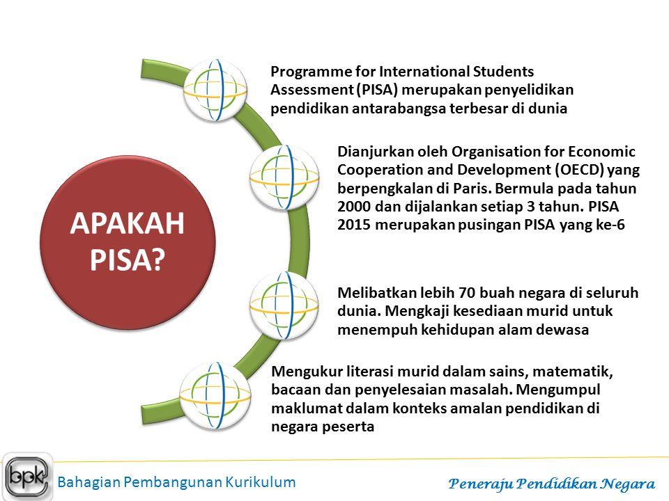 APAKAH PISA Programme for International Students Assessment (PISA) merupakan penyelidikan pendidikan antarabangsa terbesar di dunia.