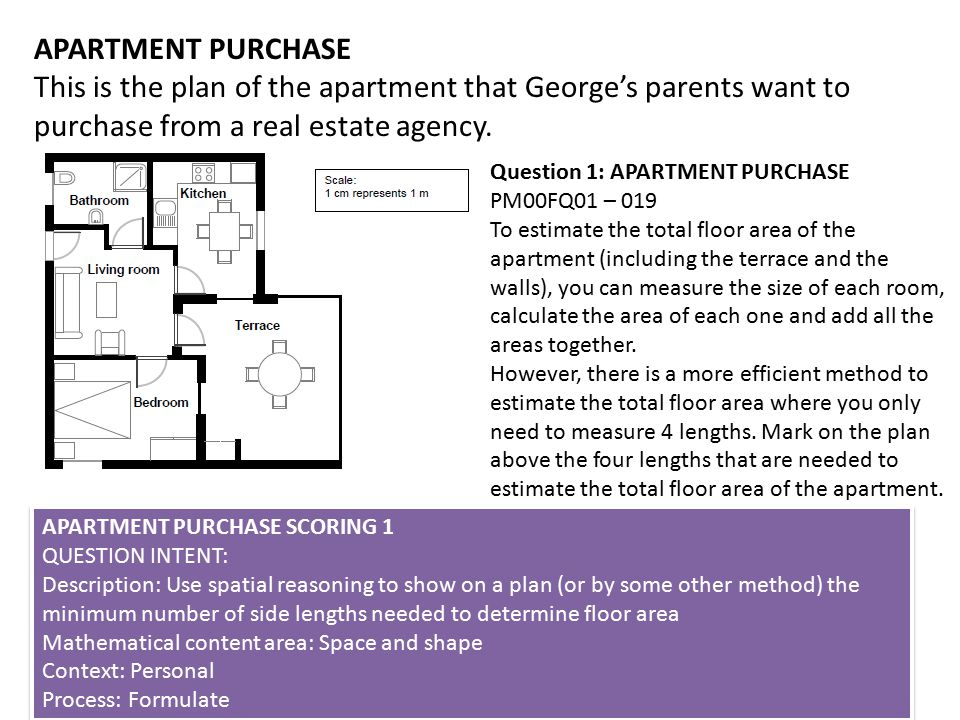 APARTMENT PURCHASE This is the plan of the apartment that George's parents want to purchase from a real estate agency.