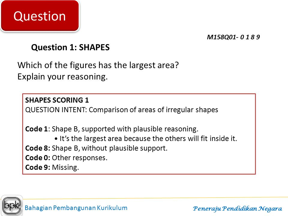 Question Question 1: SHAPES Which of the figures has the largest area