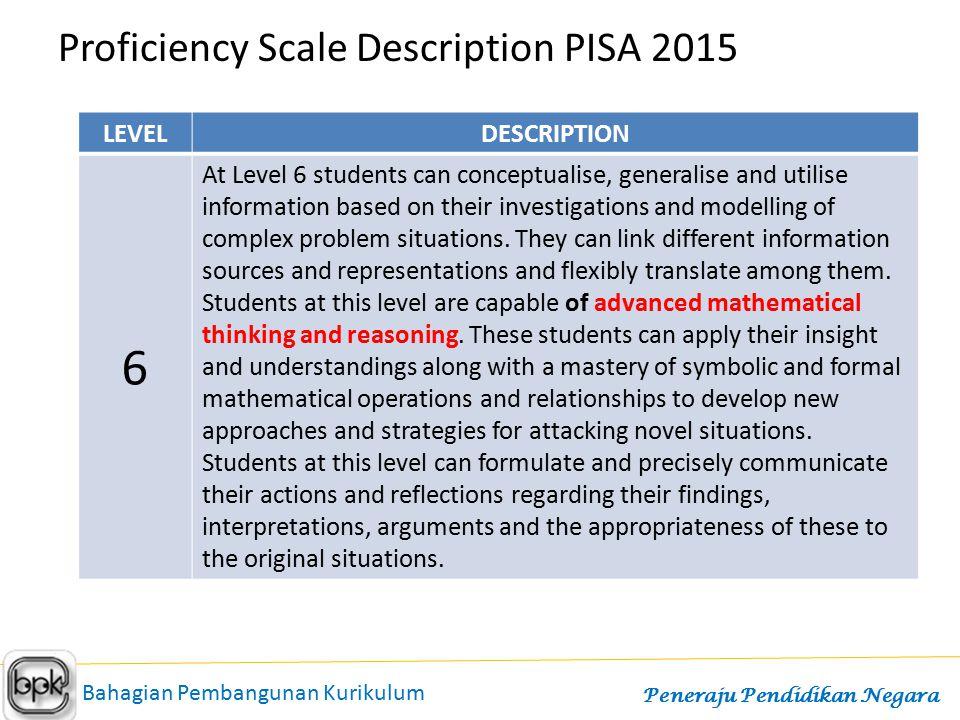 6 Proficiency Scale Description PISA 2015 LEVEL DESCRIPTION