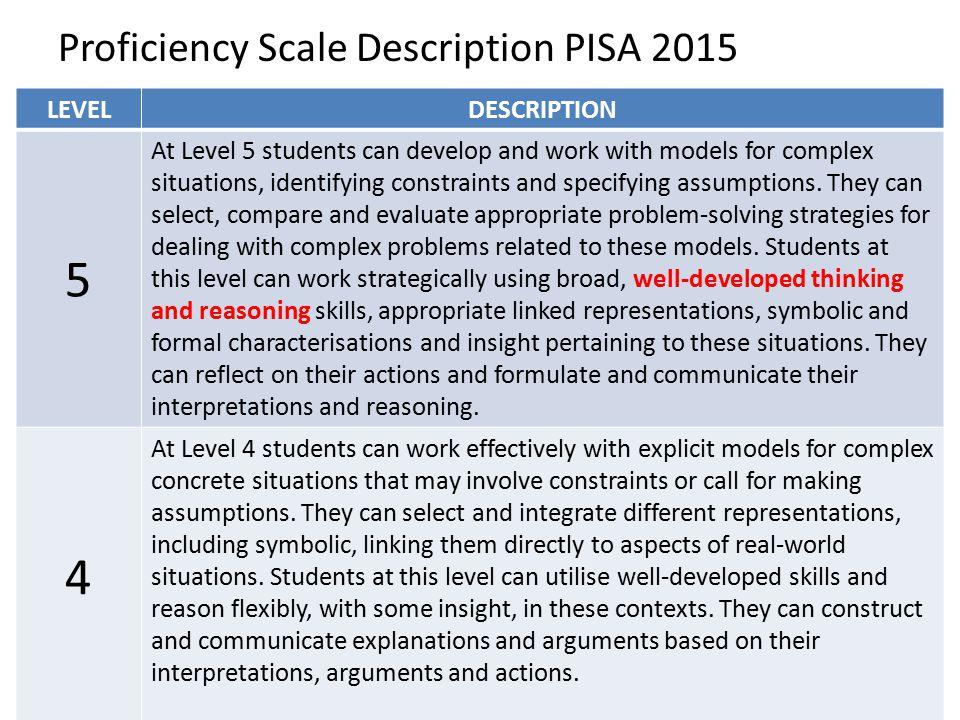 5 4 Proficiency Scale Description PISA 2015 LEVEL DESCRIPTION