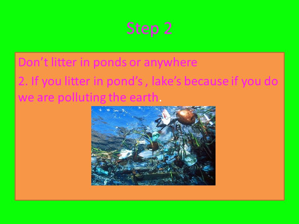 Step 2 Don't litter in ponds or anywhere 2.
