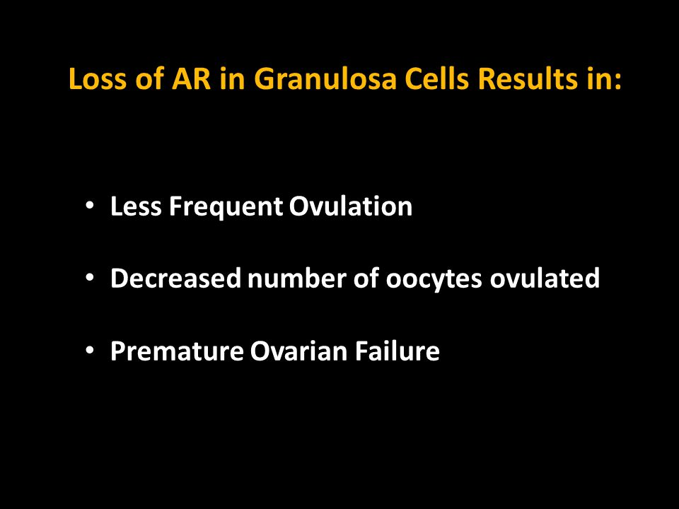 Loss of AR in Granulosa Cells Results in: