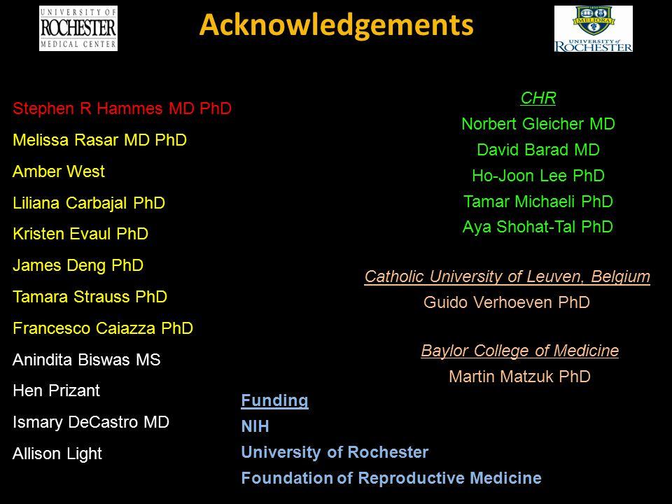 Acknowledgements Stephen R Hammes MD PhD CHR Norbert Gleicher MD