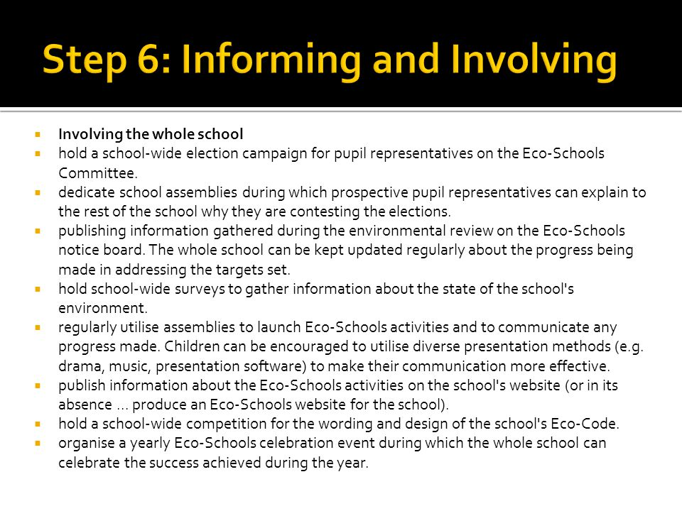 Step 6: Informing and Involving