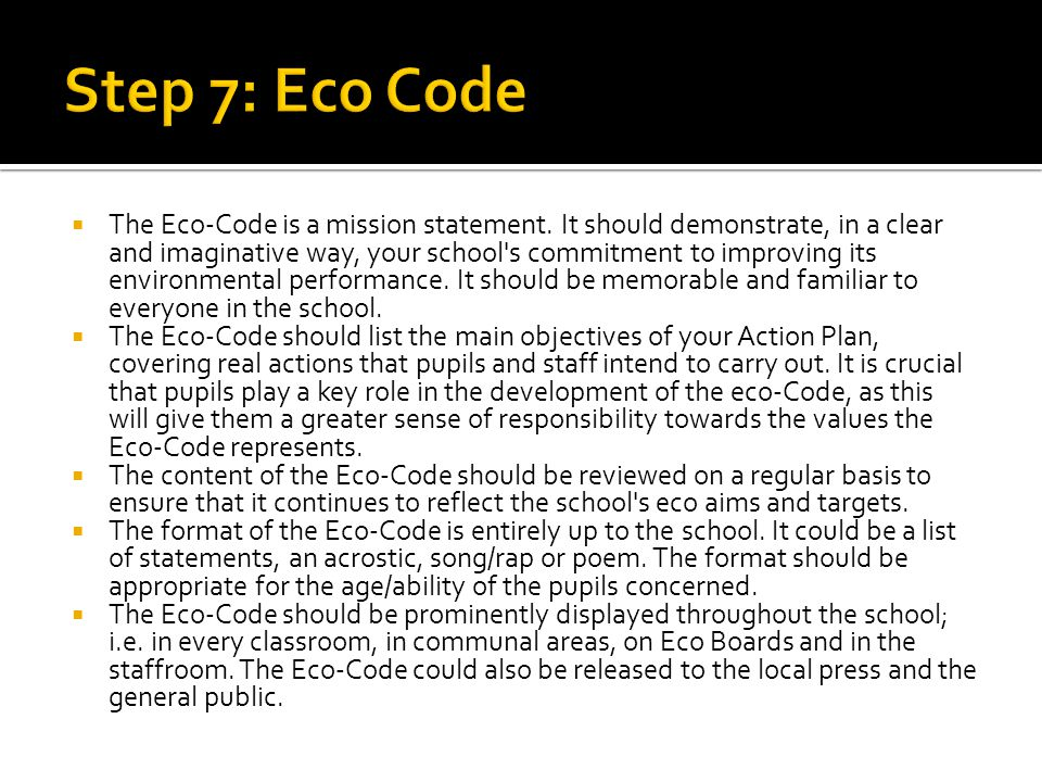 Step 7: Eco Code