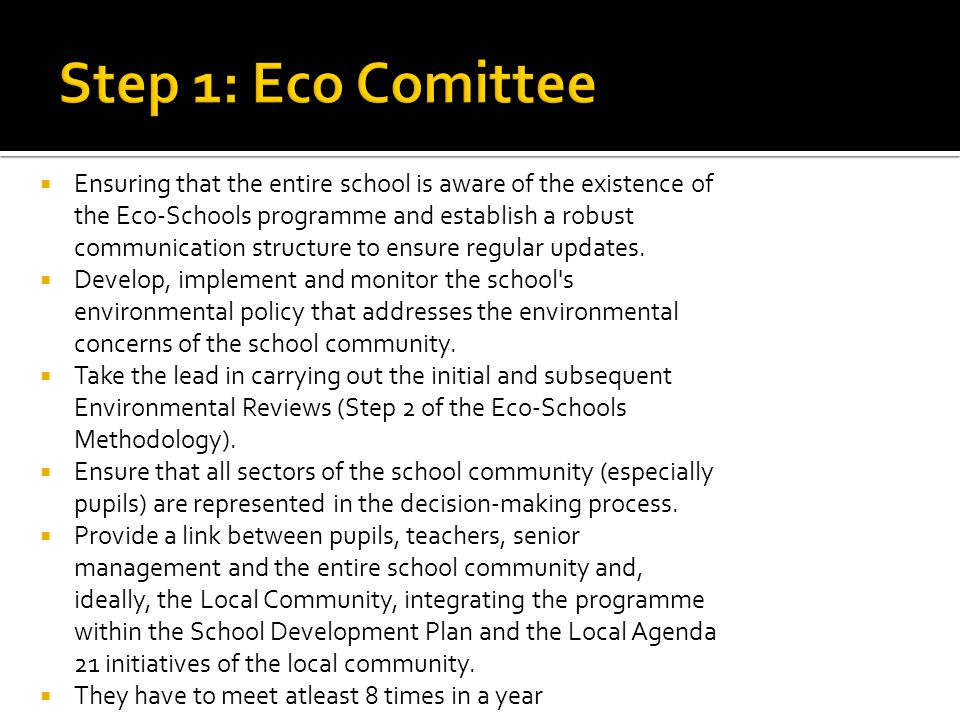 Step 1: Eco Comittee