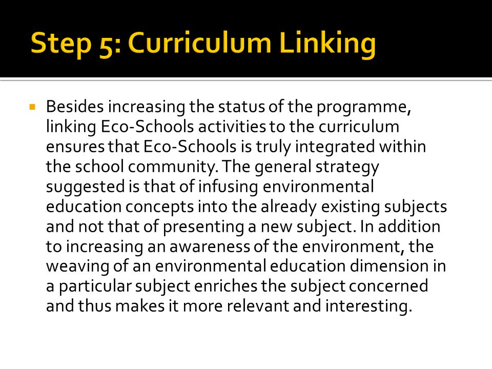 Step 5: Curriculum Linking