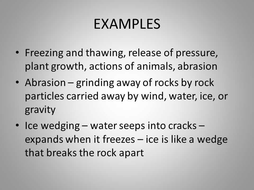 EXAMPLES Freezing and thawing, release of pressure, plant growth, actions of animals, abrasion.