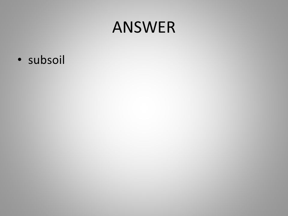 ANSWER subsoil