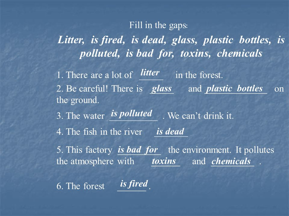 Fill in the gaps: Litter, is fired, is dead, glass, plastic bottles, is polluted, is bad for, toxins, chemicals.