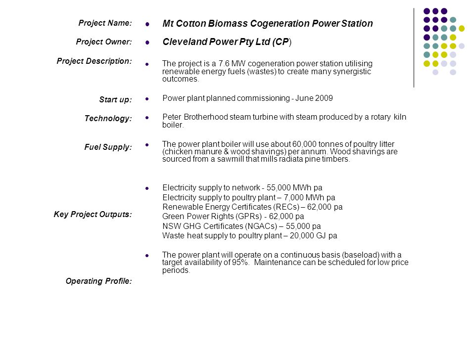 Mt Cotton Biomass Cogeneration Power Station
