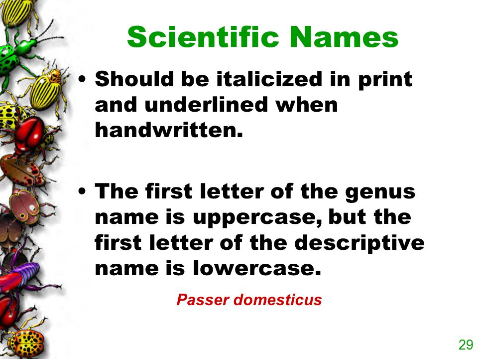 Scientific Names Should be italicized in print and underlined when handwritten.