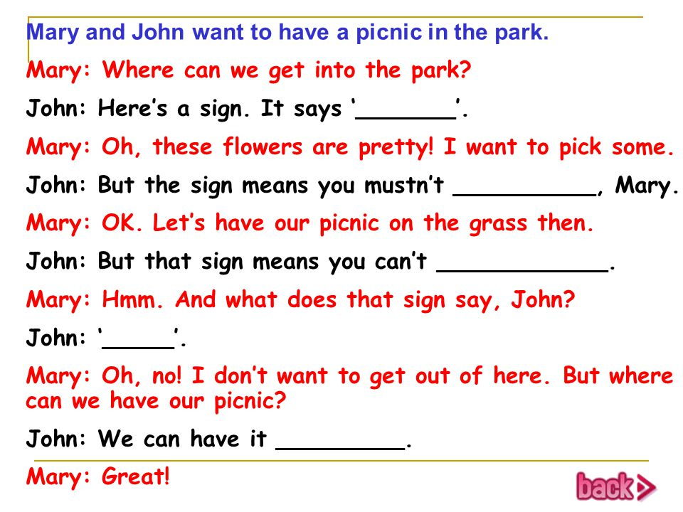 Mary and John want to have a picnic in the park.
