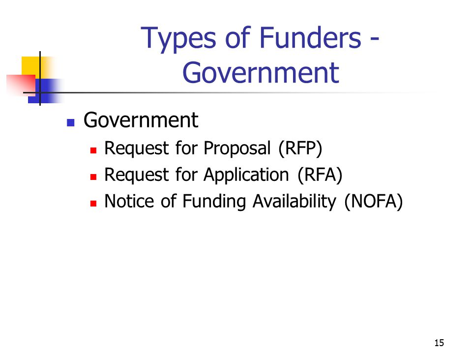 Types of Funders - Government