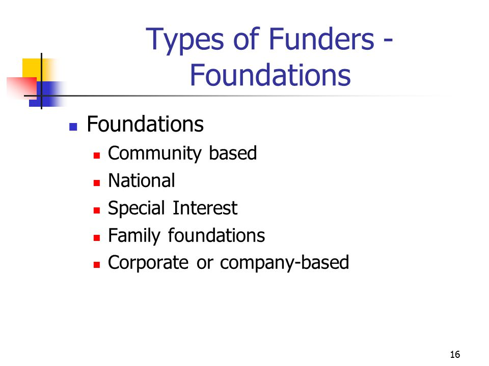 Types of Funders - Foundations