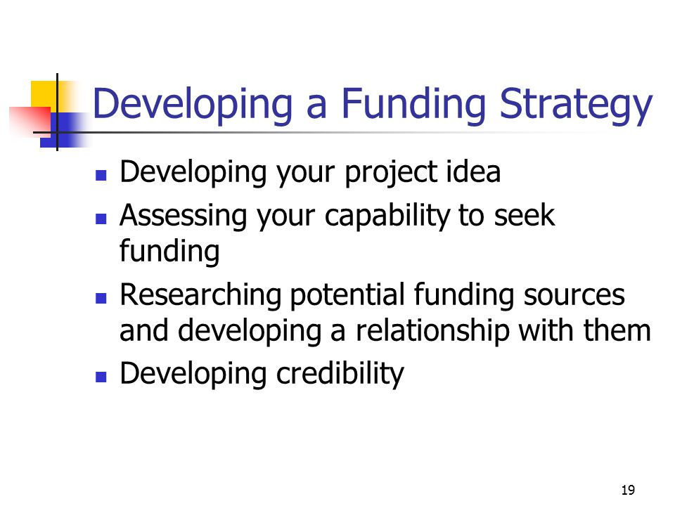 Developing a Funding Strategy
