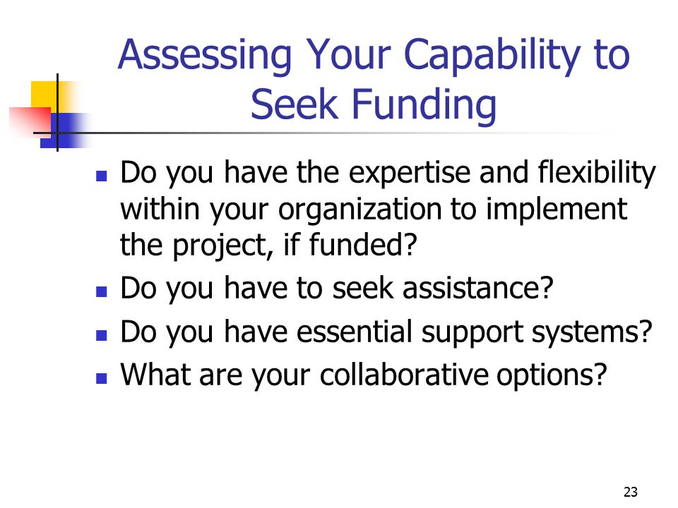 Assessing Your Capability to Seek Funding