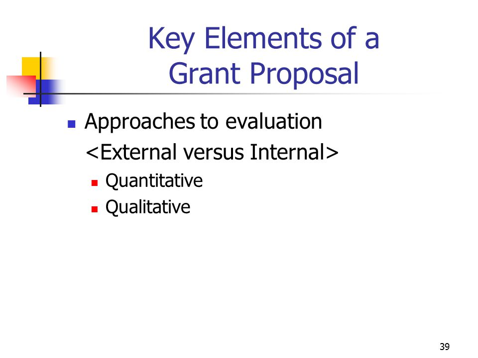 Key Elements of a Grant Proposal