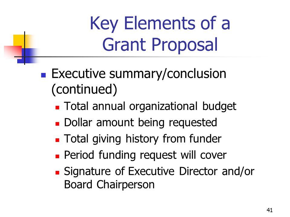Key Elements of a Grant Proposal