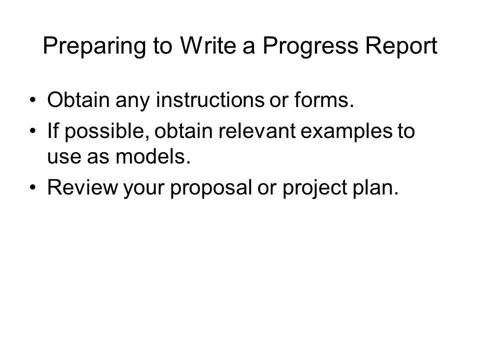 Preparing to Write a Progress Report