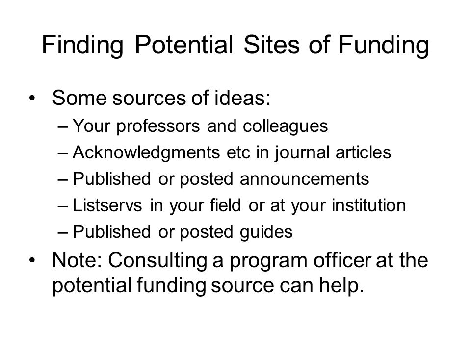 Finding Potential Sites of Funding