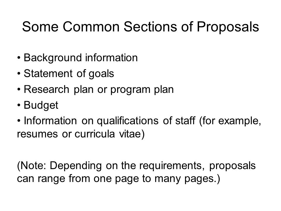 Some Common Sections of Proposals