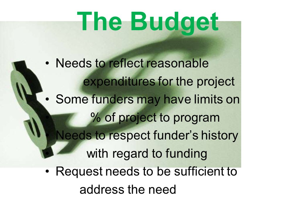The Budget Needs to reflect reasonable expenditures for the project