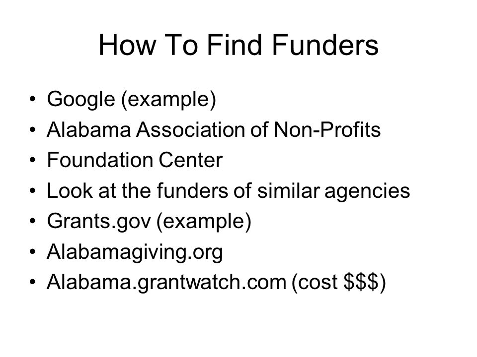 How To Find Funders Google (example)