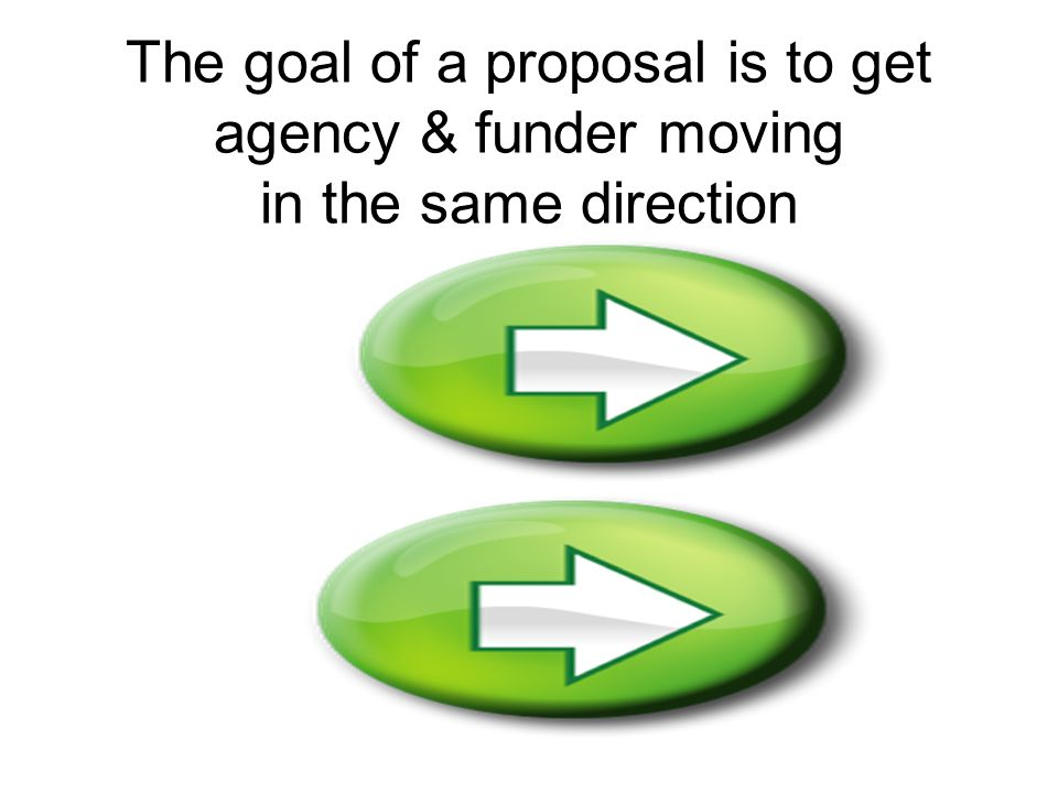 The goal of a proposal is to get agency & funder moving in the same direction