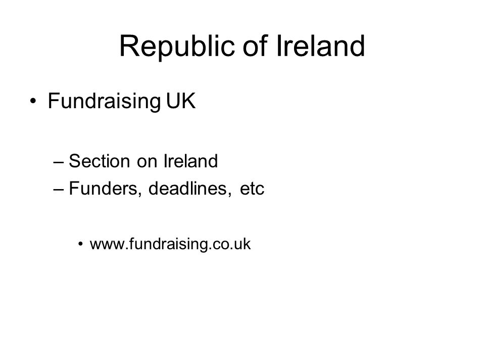 Republic of Ireland Fundraising UK Section on Ireland