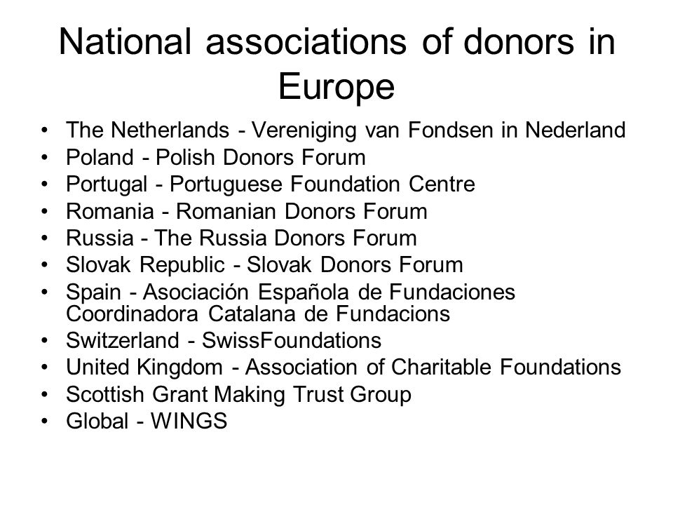 National associations of donors in Europe