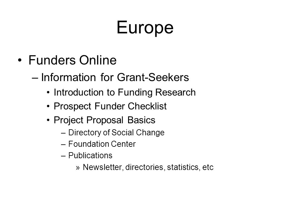 Europe Funders Online Information for Grant-Seekers