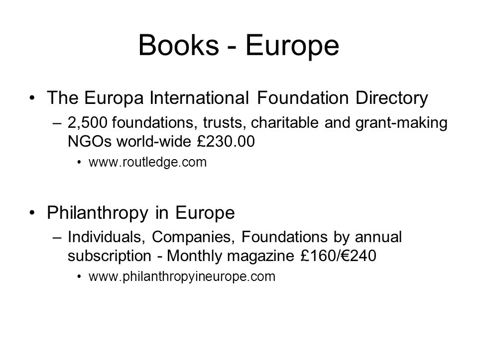 Books - Europe The Europa International Foundation Directory