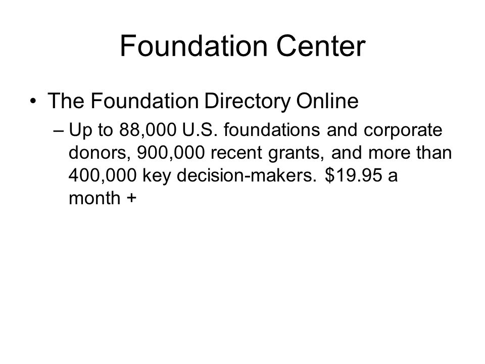 Foundation Center The Foundation Directory Online