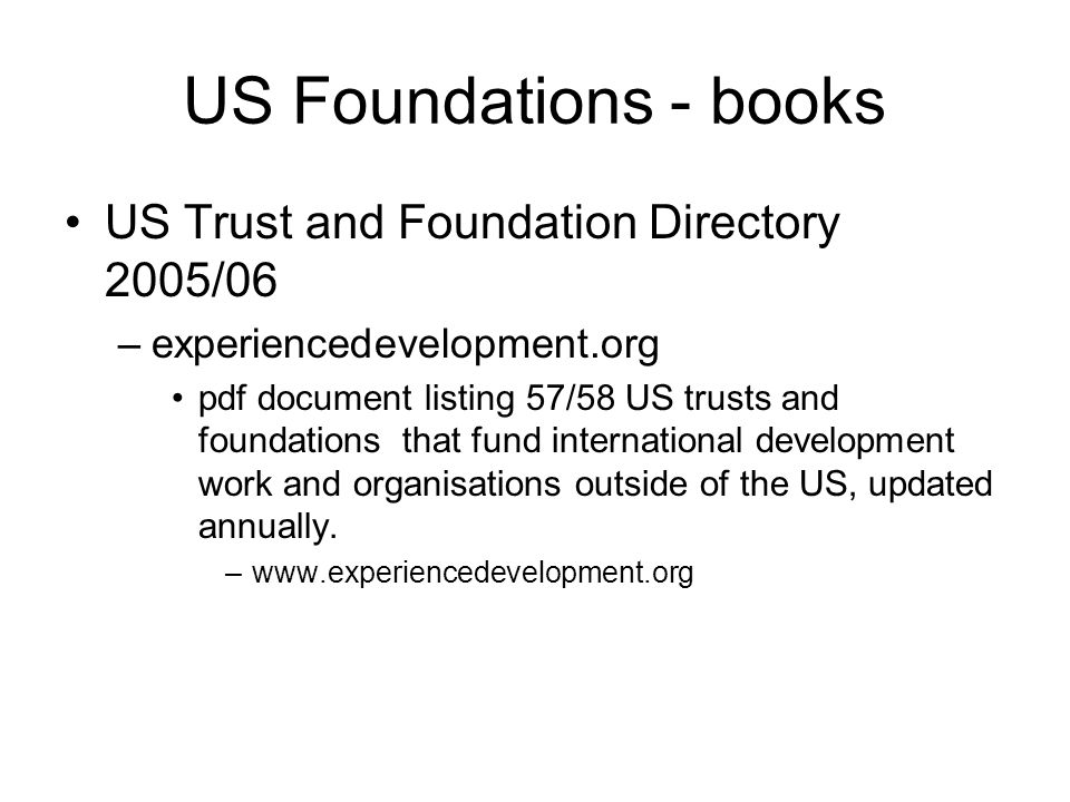 US Foundations - books US Trust and Foundation Directory 2005/06