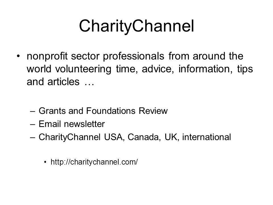 CharityChannel nonprofit sector professionals from around the world volunteering time, advice, information, tips and articles …