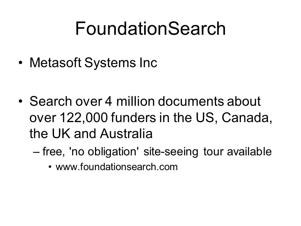 FoundationSearch Metasoft Systems Inc