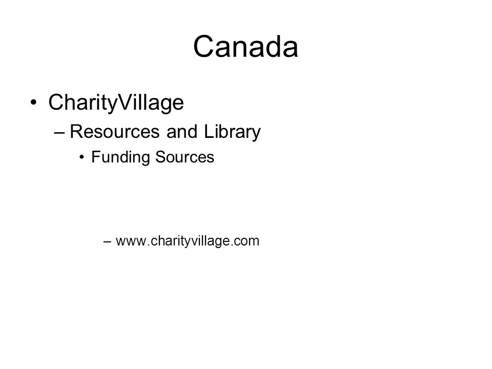 Canada CharityVillage Resources and Library Funding Sources