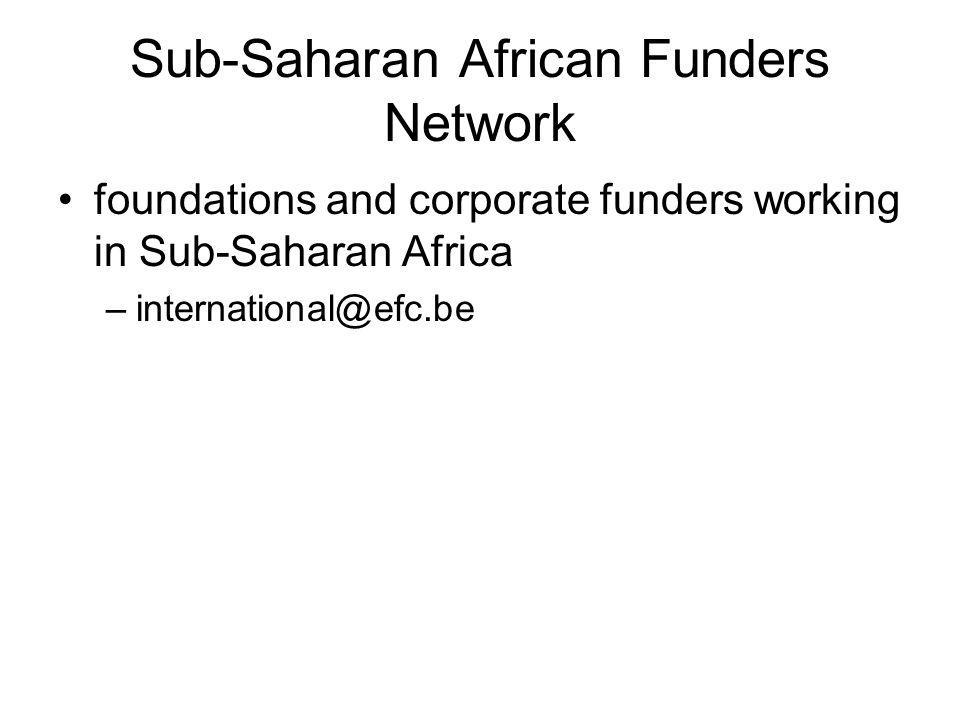Sub-Saharan African Funders Network