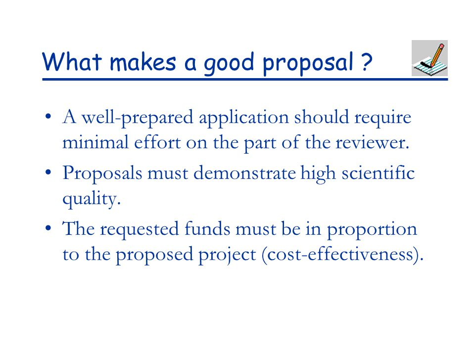 What makes a good proposal