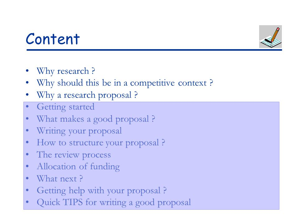 Content Why research Why should this be in a competitive context