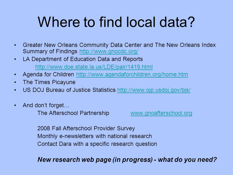 Where to find local data